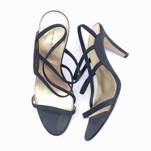 Tahari Devonshire Black Strappy Dressy Heels 8.5